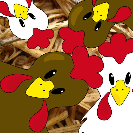 Bruine en witte kippen foto stro