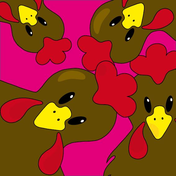 Bruine kippen roze