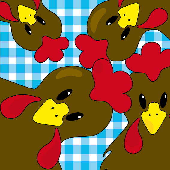 Bruine kippen blauwe ruit