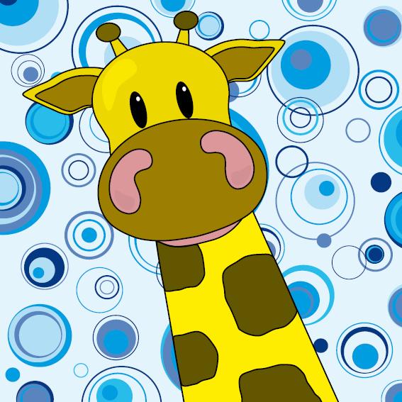 Giraf Menno cirkels blauw