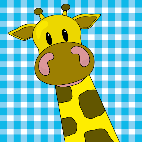 Giraf Menno blauwe ruit