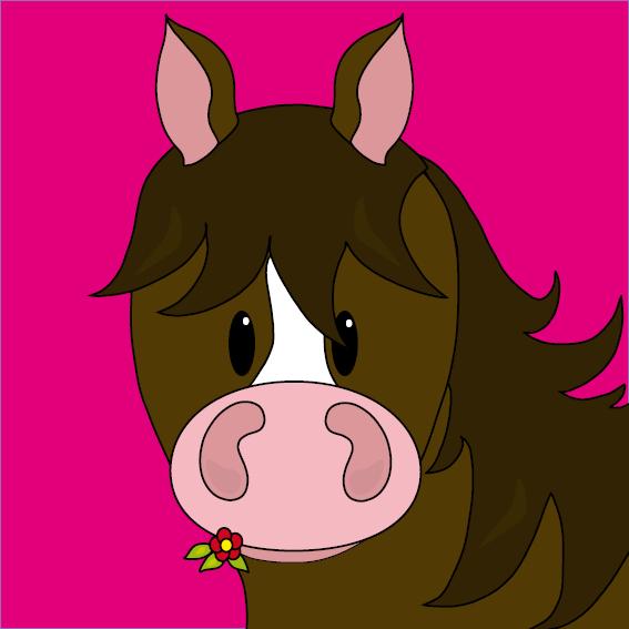 Paard Fleur roze