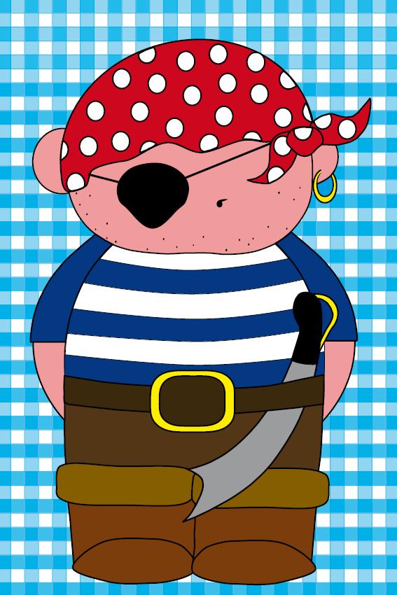 naamschilderij Piraatje Bas baby blauwe ruit