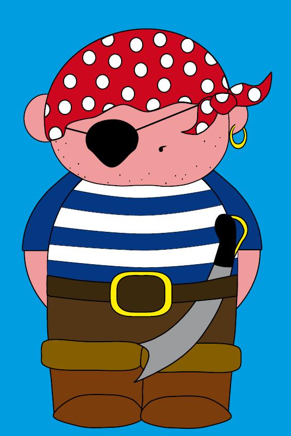 Piraatje Bas blauw