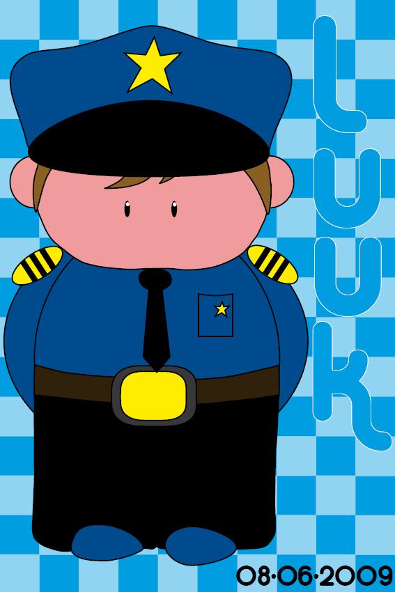 Naamschilderij Politieagent Henk blauwe blokken