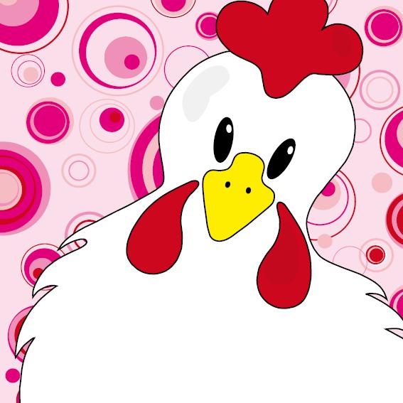 Witte kip Anna roze cirkels