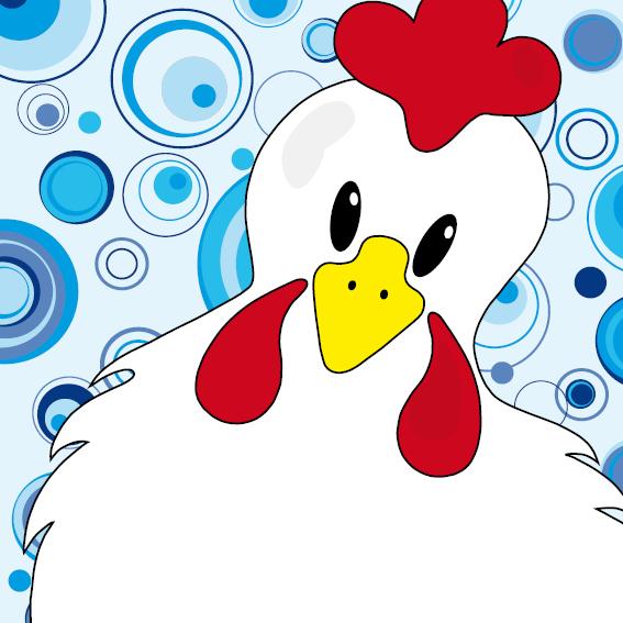 Witte kip Anna blauwe cirkels