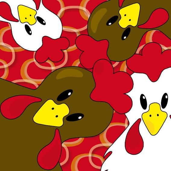 Bruine en witte kippen rode ringen