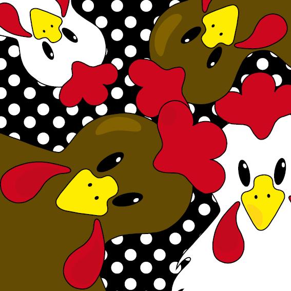 Bruine en witte kippen zwart stippen
