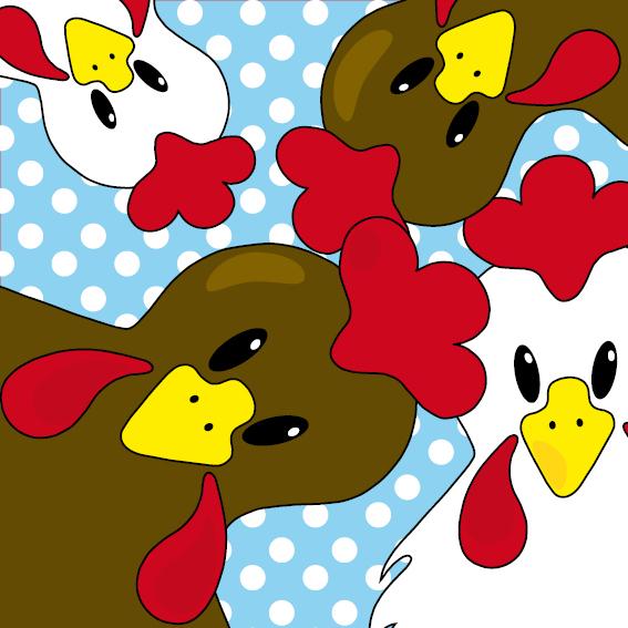 Bruine en witte kippen blauw stippen
