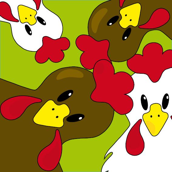 Bruine en witte kippen groen
