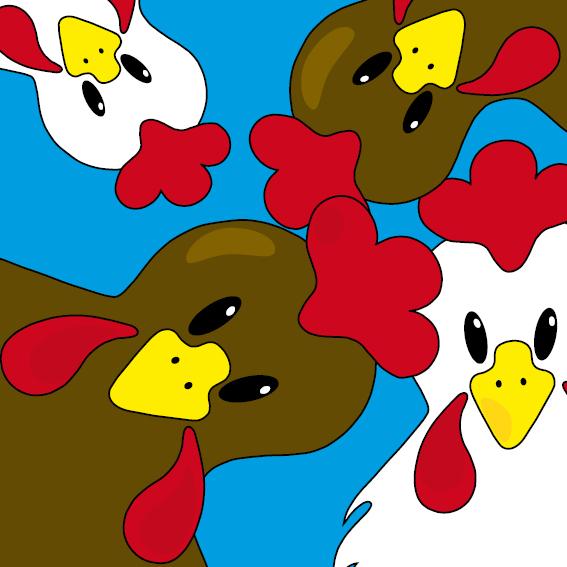 Bruine en witte kippen blauw