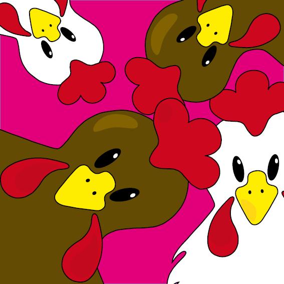 Bruine en witte kippen roze