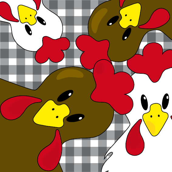 Bruine en witte kippen zwarte ruit