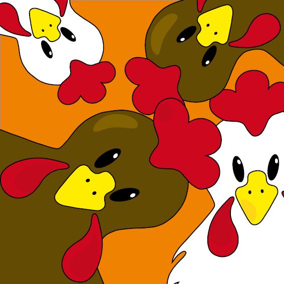 Bruine en witte kippen oranje