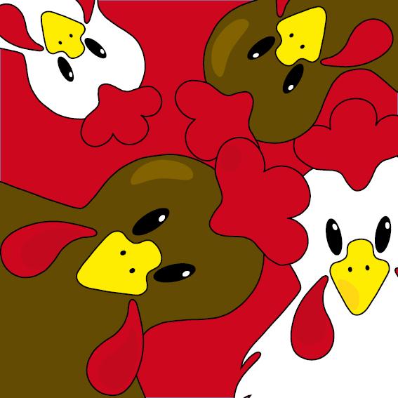 Bruine en witte kippen rood