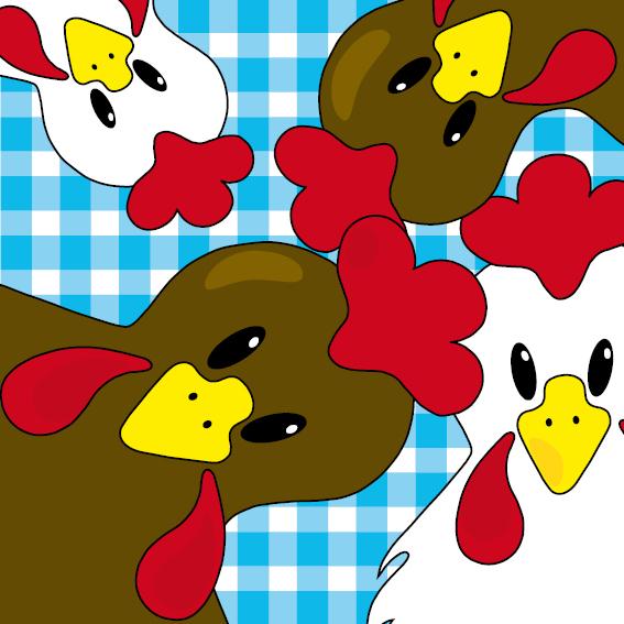 Bruine en witte kippen blauwe ruit