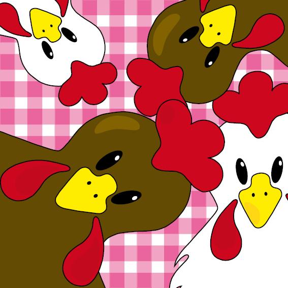 Bruine en witte kippen roze ruit