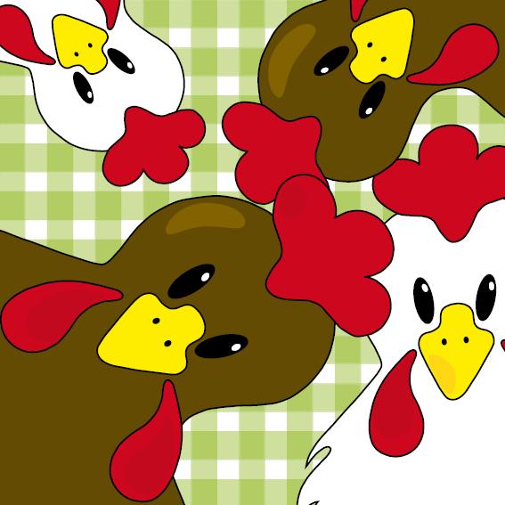 Bruine en witte kippen groene ruit