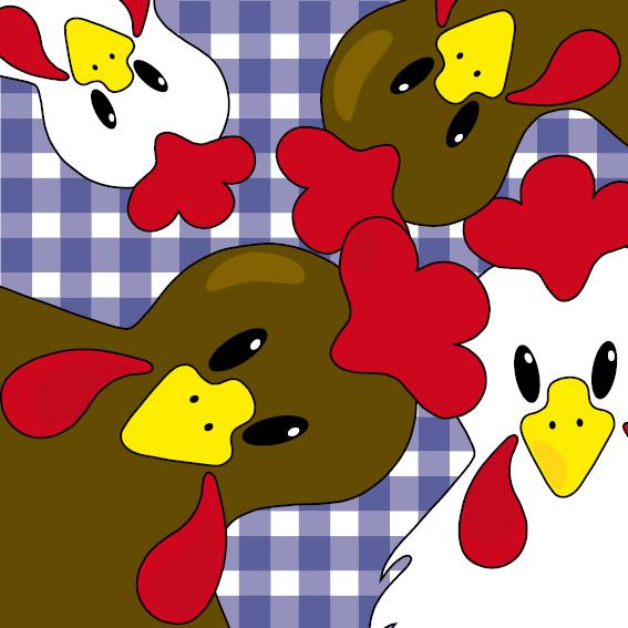 Bruine en witte kippen donker blauwe ruit