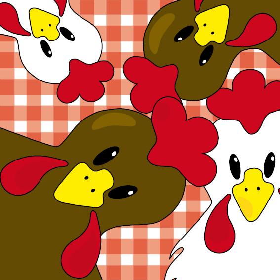 Bruine en witte kippen rode ruit