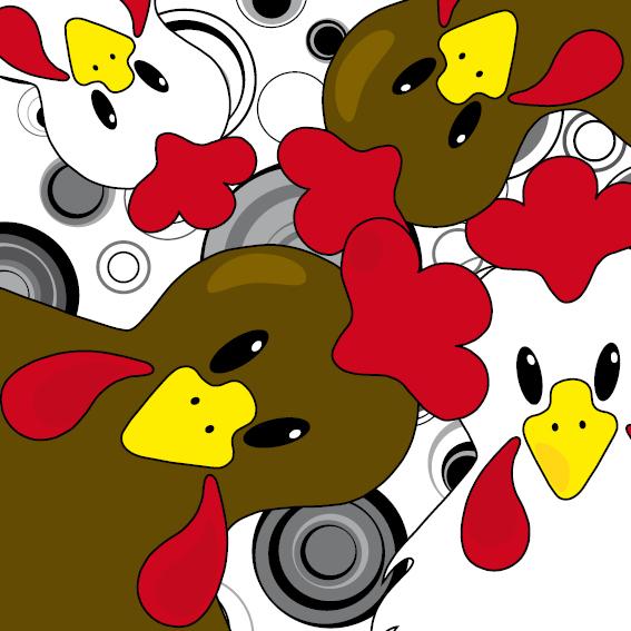 Bruine en witte kippen zwarte cirkels