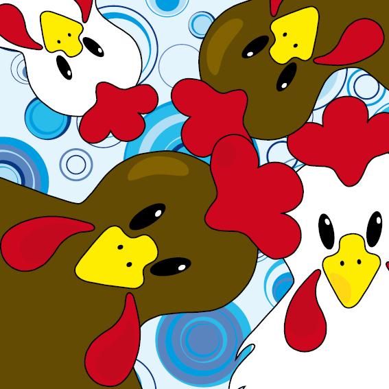 Bruine en witte kippen blauwe cirkels