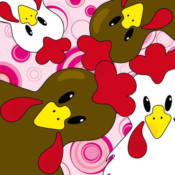 Bruine en witte kippen roze cirkels