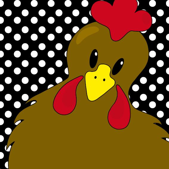 Bruine kip Emma stippen zwart