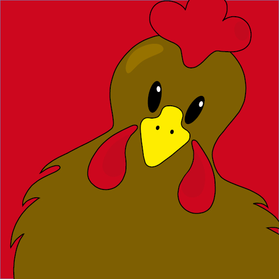 Bruine kip Emma rood