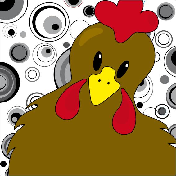 Bruine kip Emma cirkels zwart-wit