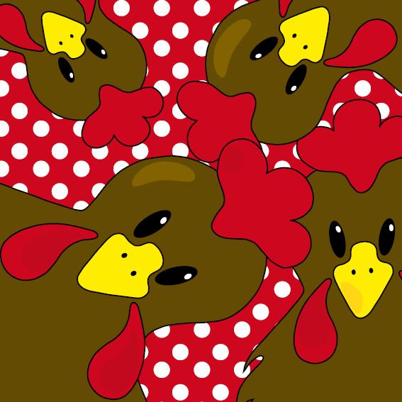 Bruine kippen stippen rood