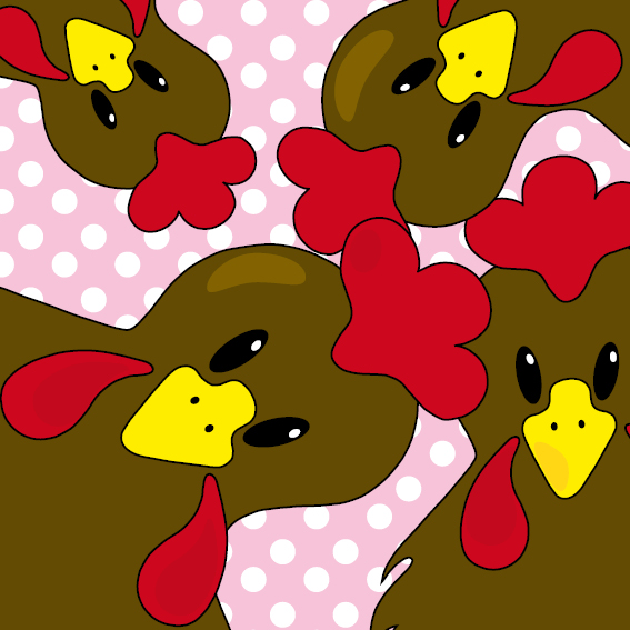 Bruine kippen stippen roze