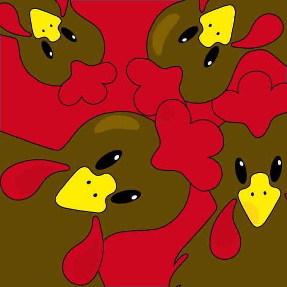 Bruine kippen rood