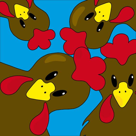 Bruine kippen blauw