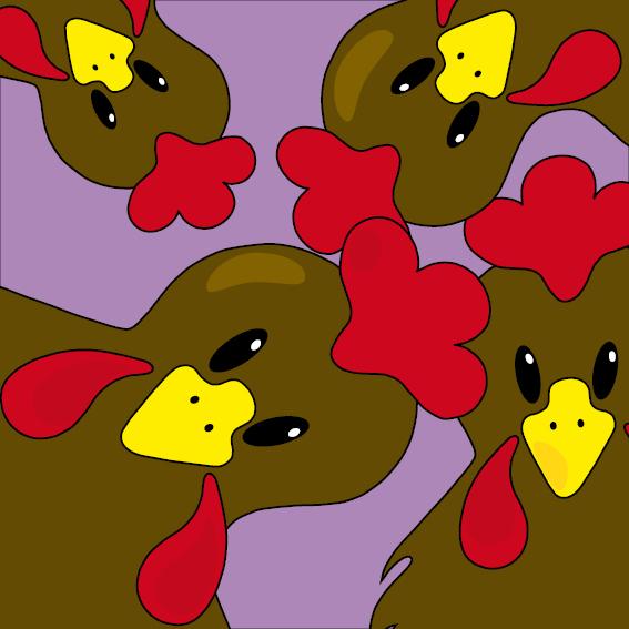 Bruine kippen paars