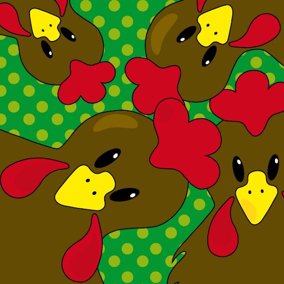 Bruine kippen groene stippen