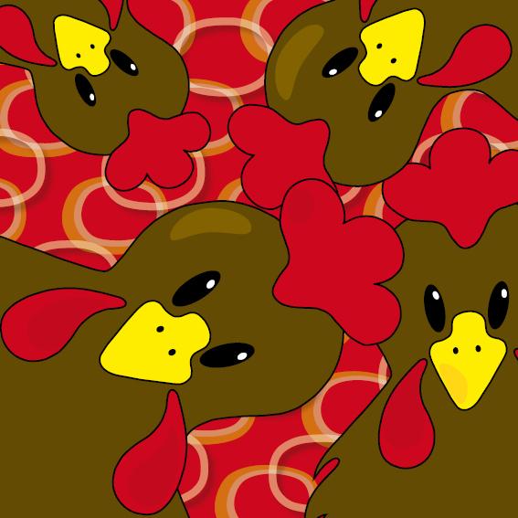 Bruine kippen ringen rood
