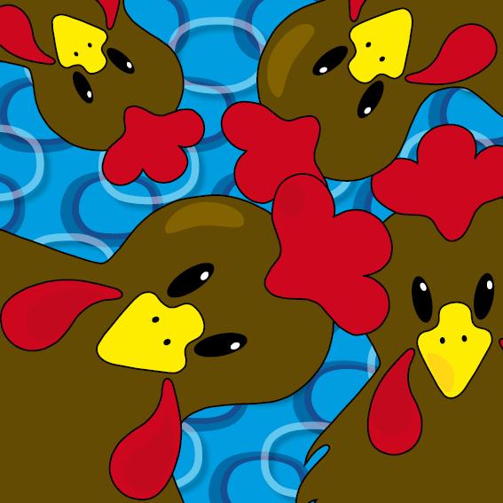Bruine kippen ringen blauw