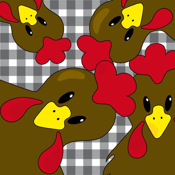 Bruine kippen zwarte ruit