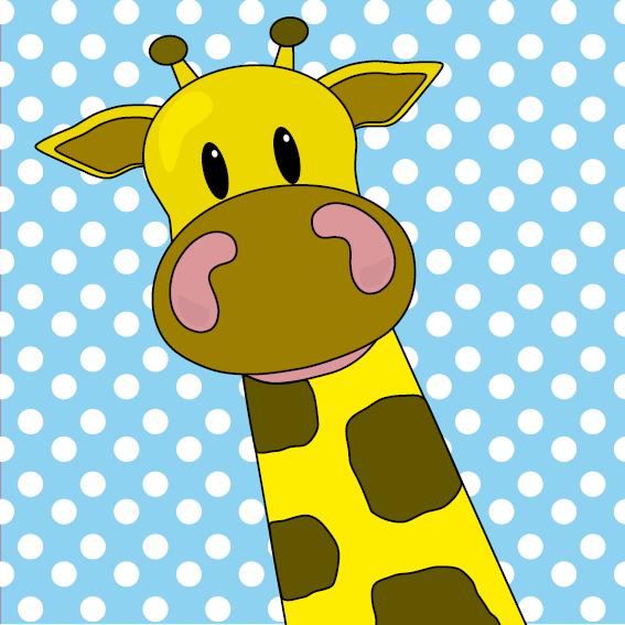 Giraf Menno baby blauw stippen
