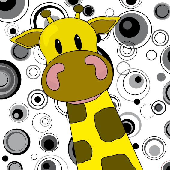 Giraf Menno cirkels zwart