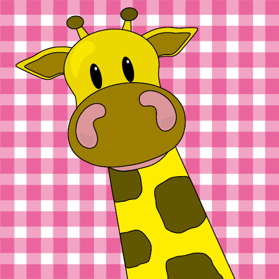 Giraf Menno roze ruit