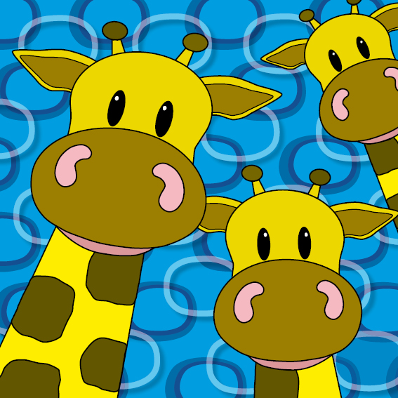 Giraffen blauwe ringen