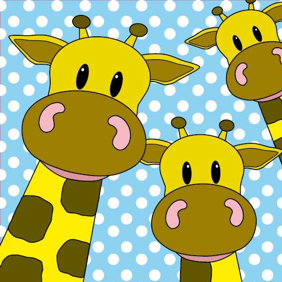 Giraffen blauwe stippen