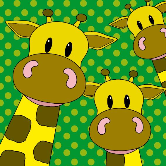 Giraffen groen stippen