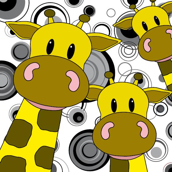 Giraffen zwart-wit cirkels
