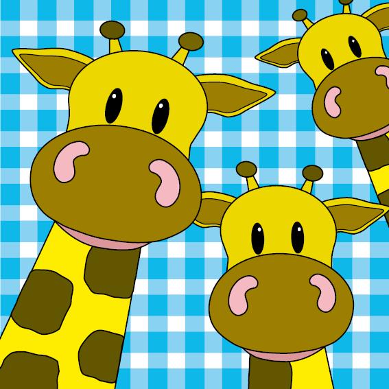 Giraffen blauwe ruit