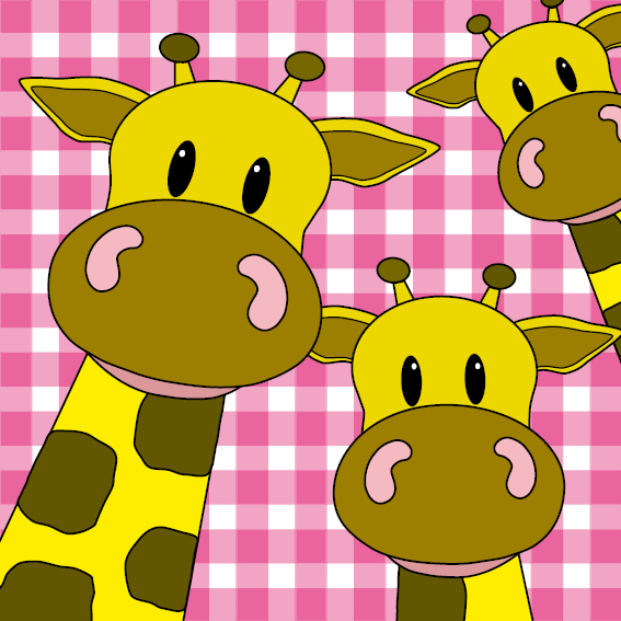 Giraffen roze ruit