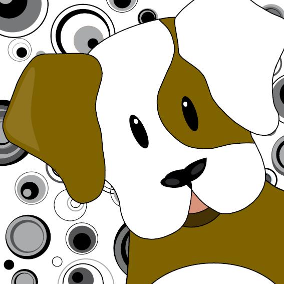 Hondje Gijs zwart-wit cirkels